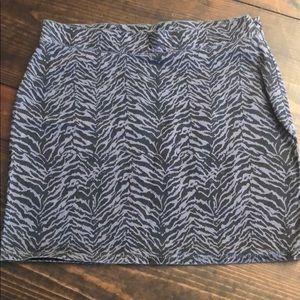 NWOT Zebra Print London Jean Mini Skirt